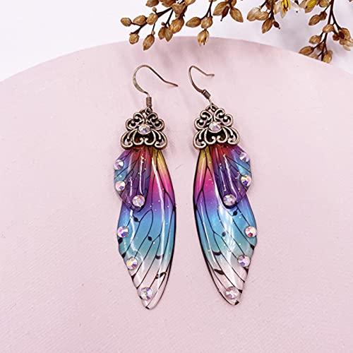 CXWK Pendientes de ala de simulación de Hadas Hechos a Mano, Pendientes Colgantes de ala de Mariposa de Insectos, Pendientes de Diamantes de imitación, joyería Nupcial romántica