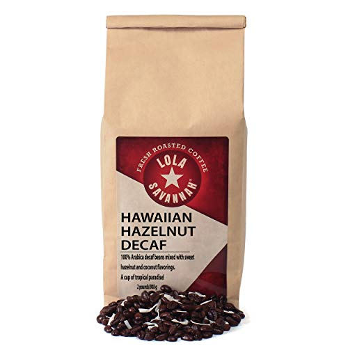 Lola Savannah Hawaiian Hazelnut Whole Bean Coffee - A Cup of Tropical Paradise | Roasted with Mild Hazelnut & Real Coconut Flakes | Decaf | 2lb Bag