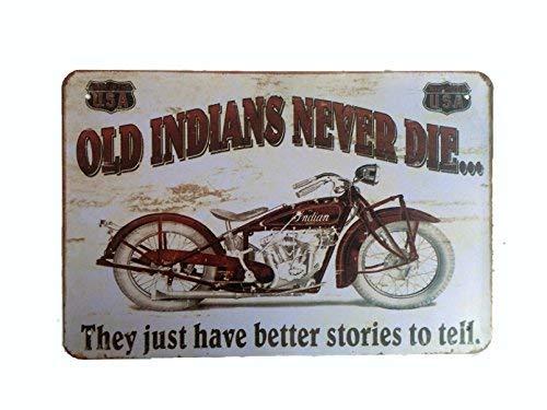 DiiliHiiri Cartel de Chapa Vintage Decoración, Letrero A4 Estilo Antiguo de metálico Retro-Old Indians Never Die
