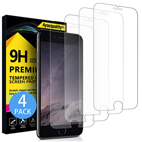 4youquality [4-Pack] Screen Protector for iPhone 8 Plus, iPhone 7 Plus,...