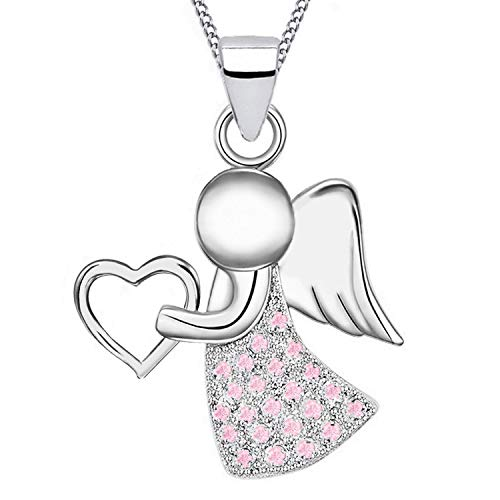 Schutzengel Herz Zirkonia Anhänger mit Halskette 925 Echt Sterling-Silber Damen Mädchen Kette Engel Z54 (Silber/Hellrosa, 38)
