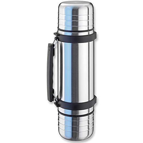 Isosteel VA-9562DQ Duo Vakuum-Isolierflasche 1,0 L aus 18/8 Edelstahl mit Quickstop-Einhandausgießsystem und 2 abschraubbaren Trinkbechern
