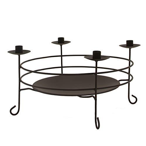 Varia Living Schalenleuchter Limerick aus Metall in schwarz runder Leuchter für 4 Stabkerzen | Kombination Kerzenständer und Dekoschale | schöner Kerzenleuchter | Gesteckschale | Etagere