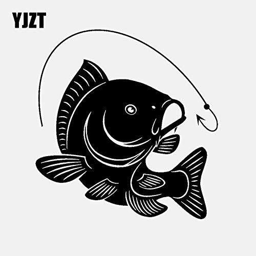 A/X 14,1 CM * 14,7 CM Anzuelo de Pesca de Carpa calcomanía Coche Pegatina Vinilo decoración Arte Peces Pescadores Hobby Negro/Plata C24-0452 Plata