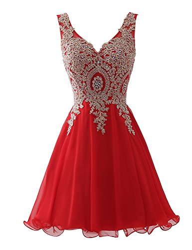 Sarahbridal Womens Short Homecoming Party Dresses Sweet 16 Beaded Applique Cocktail Bridesmaid Gowns Red US12 (Apparel)