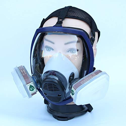 Lorenlli Mascarilla química Ligera de Cara Completa Máscara antigás Respirador de Polvo ácido Pintura de pesticida Aerosol Filtro de Silicona Mascarilla Facial