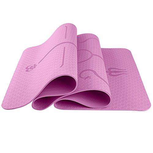 ETbotu Esercizio Fisico 6mm Multifunzionale Protezione Ambientale Yoga Pad TPE Yoga Mat Fitness Pad Linea Body Style Pink 183 * 61 * 0.6 Body Position Line