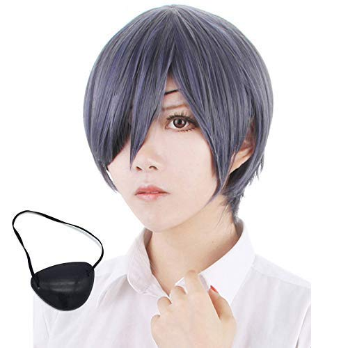 Ciel Phantomhive Cosplay Wig, Black Butler Mix Color Straight Ciel Wig Cosplay + Wig Cap + Negro Eyepatch ZDWN