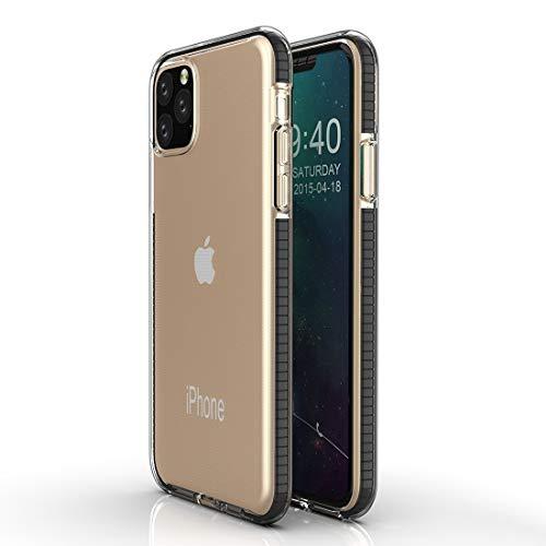 Yughb 11 Caja del teléfono MAX Pro Caja del teléfono iPhone 11Pro for el iPhone Caja Protectora 11 Pro TPU Bicolor Gota a Prueba cáscara Impermeable de Silicona (Color : Black)