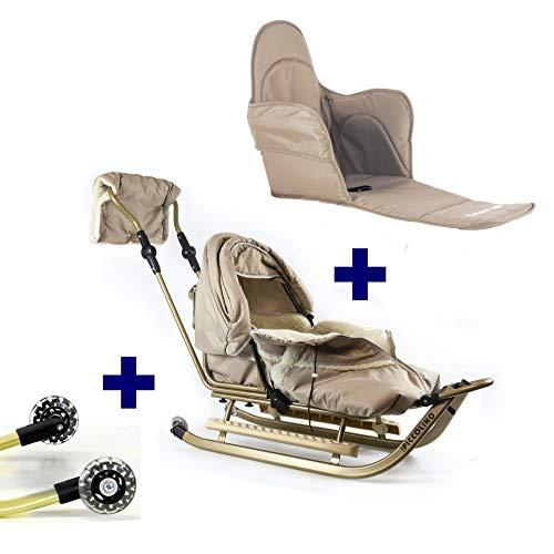 Babyschlitten Piccolino Komfort (Beige) (+ Räder und Polster)
