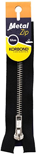 KORBOND Black Metal Closed Ended Zip – 12cm/4.7inches – Ideal for Sewing, Tailoring, Crafting Cushions or Garments Cremallera (12 cm), Color Negro