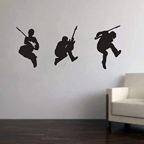 Etiqueta de la pared Vinilo removible Etiqueta de la pared Guitarra Rock Band Cool Music Studio Art Sticker Desmontable Impermeable Wallpaper Boy Room Decoración 42X98cm