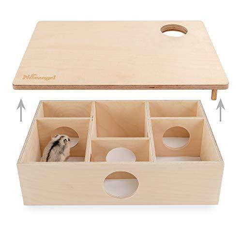 Niteangel Multi-Chamber Hamster House Maze: - Multi-Room Hideouts & Tunnel Exploring Toys for Hamster Gerbils Mice Lemmings (6-Room Small)