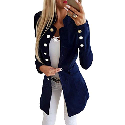 Huaheng Vrouwen Dames Casual Single-breasted Formele Lange Blazer Jas Slim Fit Jas XL Blauw