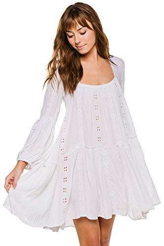Muche et Muchette Women's Balloon Long Sleeve Dress Swim Cover Up White One