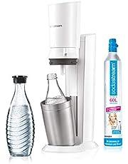 SodaStream CRYSTAL 2,0 glaskaraporer vattenbubblor för blåsor kranvatten, med diskmaskinssäker glasflaska för bubbelvatten inkl. cylinder och glaskaraff 0,6 l, vit, 22 x 11 x 42 cm