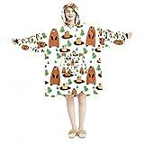 Decke Hoodie, Casual Soft Microfiber Hausmantel Warm Nachthemd für Männer Frauen mit niedlichen Cartoon Biber Designs