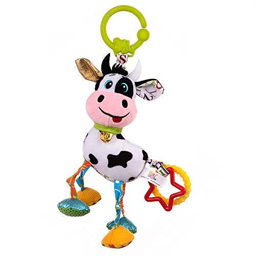 Balibazoo 83840 Cow Caesar, Clip & Go-leksaker för spädbarn, sensoriska leksaker, säkra plyschdjur, babyvänner, släpvagn för bilstol eller barnvagn, säker leksak från 0 månader