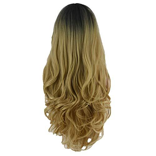 WJSW Sexy langwellige Cyrly Hair Gold Perücken für Frauen, Perücke Gold Synthetic Soft Leicht zu tragen Perücke Handgemachte Perücke, die natürlich aussieht