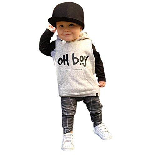 Kobay Kleinkind Säuglingsbaby Junge Kleidung Set Fashion Mit Kapuze Oberteile + Hosen Outfits (90/1.5Jahr, Weiß)