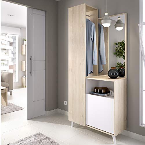 HABITMOBEL Recibidor Perchero con Espejo, Mueble Entrada Acabado en Blanco y Natural, Medidas: Alto 197cm. Ancho 87cm.