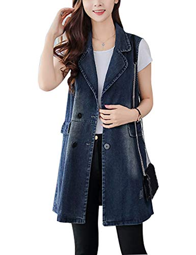 Omoone Womens Stylish Lapel Washed Mid Long Sleeveless Denim Jean Vest Waistcoat(0192-Blue 06-S)
