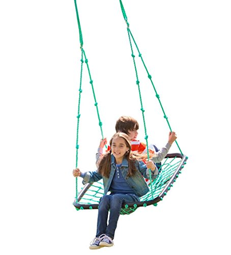 Deluxe Platform Hanging Tree Swing for Yard or Playground, Webbed Nylon Rope Mat and Padded Steel...