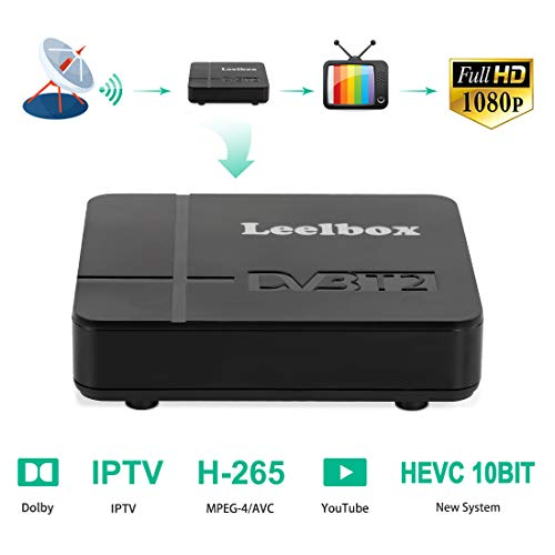 Decodificador TDT Terrestre - Leelbox Digital TV HD Euroconector Sintonizador Receptor DVB-K2 10 bits Tuner Full HD / HD Ready / 1080P / H.265 / MPEG / IPTV / Youtube / 512M / Dolby / Multimedia