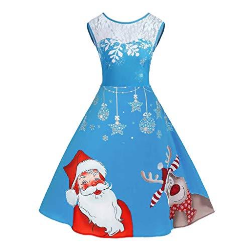 UFODB Weihnachtskleid Frauen Weihnachten kostüm Schulterfrei Weihnachtskleid Damen Patchwork...