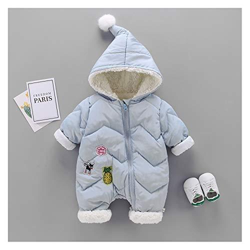 MMYYIP Hooded Baby Romper Dikke warme jas capuchon ski jas Cartoon Coveralls broek herfst en winter kleding 0-12 maanden, Blauw, 100 cm
