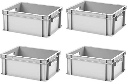 4 Stk. Euroboxen EB-417, grau, 40x30x17,5 cm (LxBxH), grau, Volumen: 16,5 Liter, lebensmittelecht, 2 Grifföffnungen