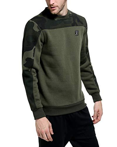 Homme Crewneck Basic Sweatshirt Camouflage Manches Longue Polaire Automne Hiver Garder au Chaud Grande Taille T-Shirt Sweats Pullover Vert d'armée M