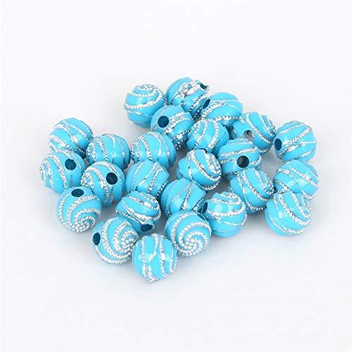BOSAIYA EA01 100 unids/Lote 8 mm Rhinestone Colorido Perlas acrílicas Redondas patrón de Espiral Perlas para DIY Craft Scrapbook Decoration Tl0331 (Color : Turquoise)