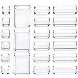 InnoGear Set of 21 Desk Drawer Organiser Trays with 4-Size Clear Plastic Storage Boxes Divider Make-up Organiser for Kitchen Bedroom Office (Transparent)