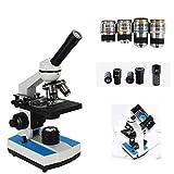 Microscopio Óptico Monocular Microscopio 1000X / 2000X / 5000X / HD Objetivo Acromático Luz LED Ajustable Puede Conectarse Al Teléfono Móvil Pruebas De Calidad Del Agua,5000x