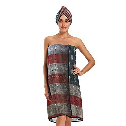 Toalla de velcro para mujer, símbolo americano, águila con banderas de Estados Unidos, toallas de baño grandes, toallas de baño ajustables, juego de 3 piezas para baño spa