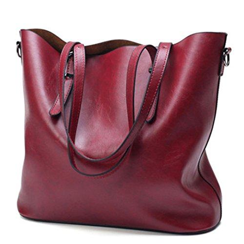 Las mujeres bolsos de cuero encerado aceite PU Mujeres de gran capacidad Bolsa Bolso grande Señoras bolsas de hombro famosas Bolsas Feminina vino rojo 35cm.