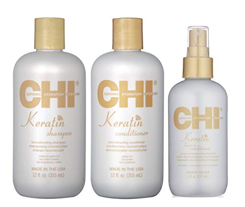 Chi Keratin Reconstructing Shampoo & Conditioner 12oz plus Leave-in Conditioner 6oz Bundle