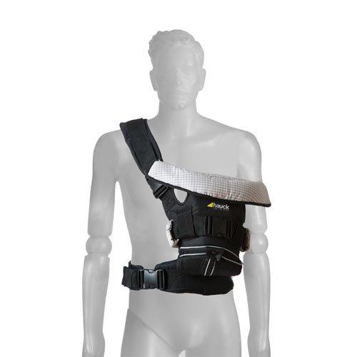 Hauck / 4 Way Carrier/Ergonomische Babytrage/inkl. Kopf und Nackenstütze/hoher Tragekomfort/Vier verschiedene Tragemöglichkeiten / 4 in 1 / ab Geburt bis zu 12 kg/Schwarz