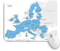 ECOMAOMI 可愛いマウスパッド 欧州連合諸国英語の国境付き政治地図のラベル付け 滑り止めゴムバッキングマウスパッドノートブックコンピュータマウスマット