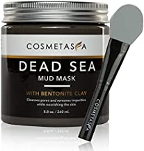 Dead Sea Mud Mask with Bentonite Clay, 8.8 oz, with Silicone Facial Mask Applicator Brush : Blackhead Remover & Pore Cleansing Mask for Minimizing & Purifying : 100% Natural, Paraben & Sulfate Free