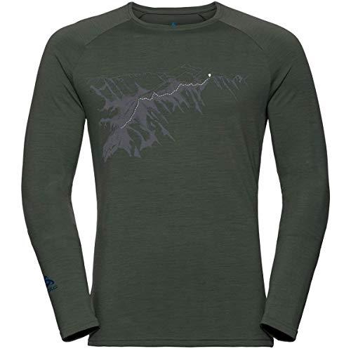 Odlo Alliance Longsleeve Homme-Manches Longues, Climbing Ivy-Imprimé sur Fond de Teint FW19, XL