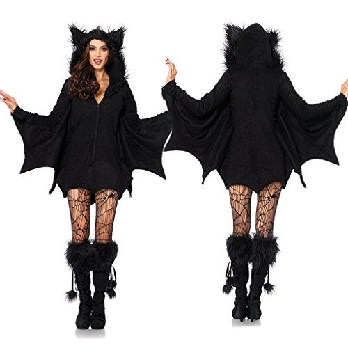 Costour Damen Kostüm für Karneval Halloween Fledermaus Hexe Cosplay Set, Schwarz, M