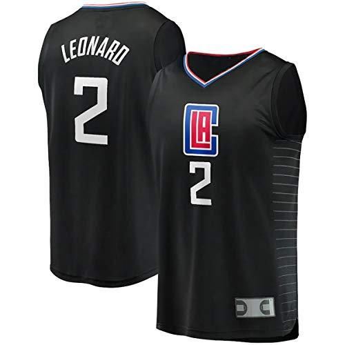 EUEU Maillots de entrenamiento de baloncesto al aire libre Kawhi LA NO.2 Clippers Leonard Fast Break Player Jersey - Negro - Declaración edición