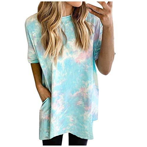 Dasongff Damen Longshirt Bluse Rundhals Kurzarmshirt Farbverlauf Crop Tops Oberteile Lose Teenager Mädchen T-Shirt mit Tasche Mehrfarbig Tunika Crop Tops Minidress Sommerkleid