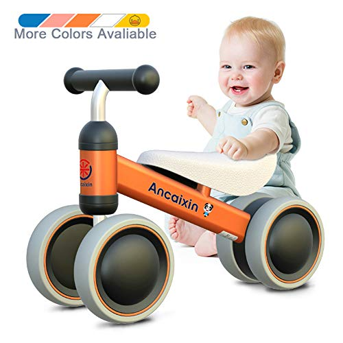 Ancaixin Baby Balance Bikes 10-24 Month Children Walker | Toys for 1 Year Old Boys Girls | No Pedal Infant 4 Wheels Toddler Bicycle | Best First Birthday New Year Holiday Orange
