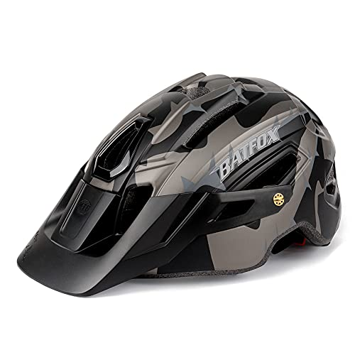 OMGPFR Casco De Bicicleta MTB para Adultos, Casco De Seguridad para Montar Al Aire Libre con Luz De Advertencia Casco De Bicicleta De Montaña Integrado EPS 14 Vents (Black1)