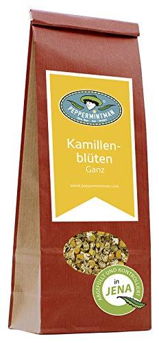 PEPPERMINTMAN Kamillenblüten – mind. 0,5% äther. Öl - ausschließlich Blütenköpfe - Premium Kamillenblütentee – Apfelähnlich duftender und wohlschmeckender Kamillentee – 60g Papiertüte