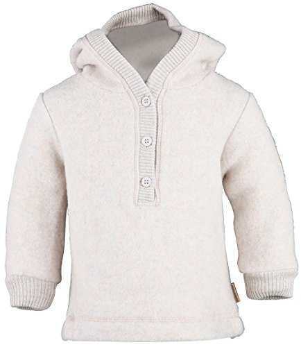 mikk-line mikk-line Unisex Baby Woll-Kapuzenshirt Sweatshirt, Beige (Melange Offwhite 429), 68