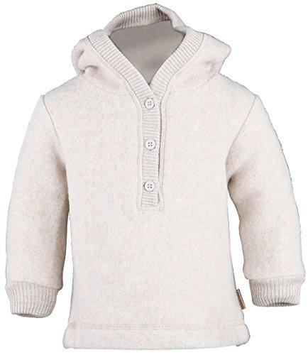 mikk-line Unisex Baby Woll-Kapuzenshirt Sweatshirt, Beige (Melange Offwhite 429), 80